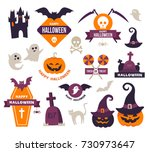 collection of happy halloween...   Shutterstock .eps vector #730973647