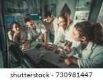 five positive italian adults...   Shutterstock . vector #730981447
