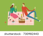 man and woman at the park... | Shutterstock .eps vector #730982443