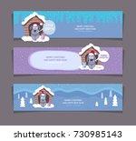 christmas dog winter banners ... | Shutterstock .eps vector #730985143
