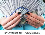business woman counting money...   Shutterstock . vector #730988683