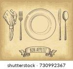 hand drawn plate  napkin  spoon ... | Shutterstock .eps vector #730992367