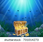 treasure chest in underwater... | Shutterstock .eps vector #731014273
