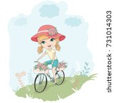 little cute girl with bicycle... | Shutterstock .eps vector #731014303