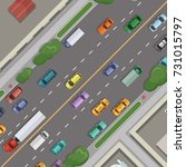vector city road with cars with ... | Shutterstock .eps vector #731015797