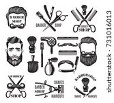 monochrome pictures of barber... | Shutterstock .eps vector #731016013