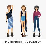 fashion icon set. hipster style.... | Shutterstock .eps vector #731023507