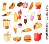 cartoon fast food unhealthy... | Shutterstock .eps vector #731031247