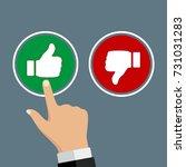 male hand pressing positive... | Shutterstock .eps vector #731031283