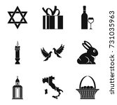 religion icons set. simple set... | Shutterstock .eps vector #731035963