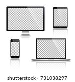 realistic set of monitor ... | Shutterstock .eps vector #731038297