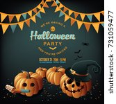halloween party invitation... | Shutterstock .eps vector #731059477