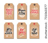christmas vintage gift tags set ... | Shutterstock .eps vector #731063377