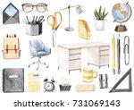 back to school set  globe ... | Shutterstock . vector #731069143
