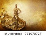 Golden Fashion Model  Elegant...