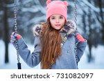 Charming Little Girl On Swing...