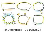 retro empty comic bubbles and... | Shutterstock .eps vector #731083627