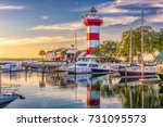 Small photo of Hilton Head, South Carolina, lighthouse at dusk.
