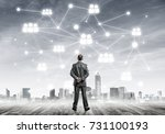 back view of businessman... | Shutterstock . vector #731100193