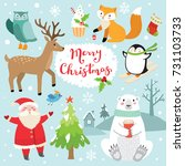 cute christmas set | Shutterstock .eps vector #731103733