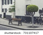 generic park bench and neatly... | Shutterstock . vector #731107417