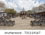 Small photo of March 22, 2014 Santa Clara del Cobre, Mexico: the center of the own known for its coppersmith industry, even the outdoors benches in the park are made of copper