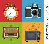 vintage media pop art cartoon | Shutterstock .eps vector #731137153
