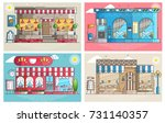 set of small cute coffee houses ... | Shutterstock .eps vector #731140357