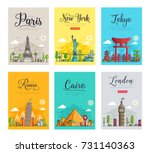Set of different cities for travel destinations. landmarks banner template of flyer, magazines, posters, book cover, banners. Layout workplace technology flat illustrations modern pages | Shutterstock vector #731140363