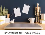 mock up with two sticky notes ... | Shutterstock . vector #731149117