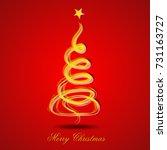 christmas tree greeting card... | Shutterstock .eps vector #731163727