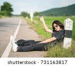 young asian woman short hair... | Shutterstock . vector #731163817