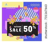 autumn sale memphis style web...   Shutterstock .eps vector #731167663