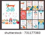 creative calendar 2018 with... | Shutterstock .eps vector #731177383