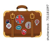 vintage brown suitcase with ... | Shutterstock .eps vector #731181097