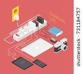 isometric charging electronics... | Shutterstock .eps vector #731184757