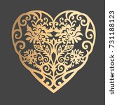 abstract heart ornament with... | Shutterstock .eps vector #731188123