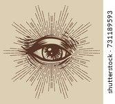 masonic symbol. seeing eye....   Shutterstock .eps vector #731189593