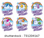vector set of emblems with... | Shutterstock .eps vector #731204167