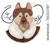 vector illustration of husky... | Shutterstock .eps vector #731211787
