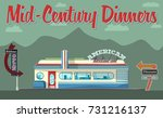 vector mid century restaurant  | Shutterstock .eps vector #731216137