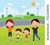 family walking in the park  | Shutterstock .eps vector #731218543