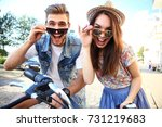 couple in love. happy young... | Shutterstock . vector #731219683