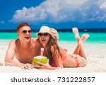 happy young couple lying and... | Shutterstock . vector #731222857