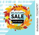 autumn sale on a bright autumn...   Shutterstock .eps vector #731240797