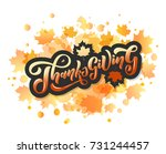 hand drawn happy thanksgiving... | Shutterstock .eps vector #731244457