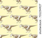 dinosaurs skeletons silhouettes ... | Shutterstock .eps vector #731254927