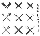 set of restaurant knives icons. ... | Shutterstock .eps vector #731257303