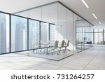 corner of a glass wall meeting... | Shutterstock . vector #731264257