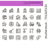 civil enginerring   thin line... | Shutterstock .eps vector #731265133
